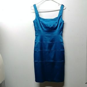 Unworn Blue size 4 Jax cocktail dress. Satin feel